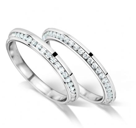 Knife edge inlaid channel set eternity/wedding ring, platinum. 2.5mm x 1.7mm. Full coverage